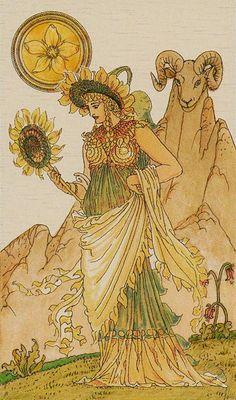 Queen of Coins - Harmonious Tarot by Walter Crane, Ernest Fitzpatrick