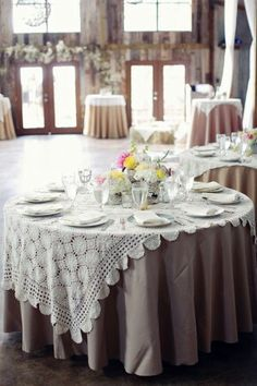 Lace Wedding Linens - not sure if this will match with our theme