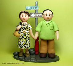 DEPOSIT  Custom Lovely Couple Figurine Cake Topper by missnatch, $50.00