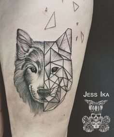 2017 trend Animal Tattoo Designs - Geometric Wolf Tattoo by Jess Ika Wolf Tattoos, Lone Wolf Tattoo, Wolf Tattoo Sleeve, Forearm Tattoos, Sleeve Tattoos, Wolf Tattoo Design, Tattoo Designs, Et Tattoo, Tattoo Drawings