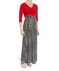 This dress forms an effortless outfit with trimester-spanning appeal. Shipping note: This item is made for zulily. Cute Maternity Dresses, Maternity Maxi, Zig Zag, Skirts, Red, Outfits, Black, Fashion, Moda