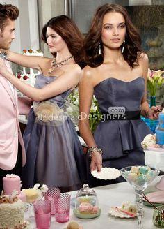 graphite organza strapless a line knee length bridesmaid dress 50.html