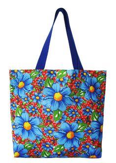 Maxi Ecobag em chita floral azul