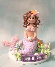 Personalised mermaid cake topper clay keepsakes