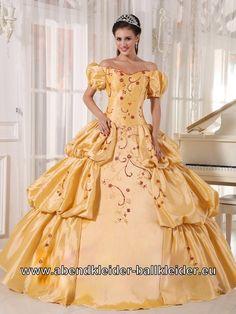 Schulterfreies Goldenes Sissi Kleid Ballkleid Brautkleid