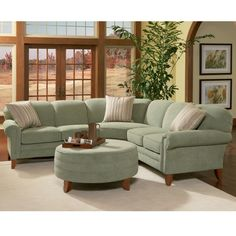 Have to have it. Charles Schneider Edge Seagreen Fabric Sectional Sofa with Ottoman $2899.99