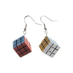 Rubix Cube Dangly Earrings - Vintage clothing from Rokit - ❤ Funky Earrings, Dangly Earrings, Diy Earrings, Vintage Earrings, Vintage Jewelry, Vintage Clothing, Jewellery Earrings, Vintage Pins, Silver Jewellery