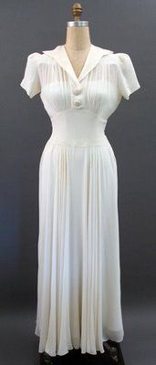 1940's white chiffon dress