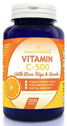Sonora Nutrition Vitamin C with Rose Hips and Acerola 500 mg, 200 Capsules ** Click on the image for additional details.