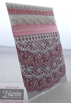 Die'sire Fancy Edgeables Doily Lattice - Centura Pearl - Collall All Purpose - Red Liner tape - Pearls, ribbon, lace - #crafterscompanion