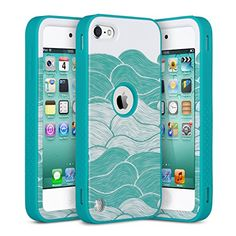 ULAK® iPod Touch 6 Case,iPod Touch 5 Case,Hybrid 3 Layer Hard Case [ Pattern ] Cover with Silicone Soft Shell Inside Case for Apple iPod Touch 5 6th Generation(B_Melaleuca waves/Blue)