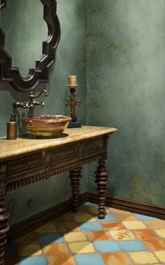 Mexican home interiors...bathroom. Love the wall color