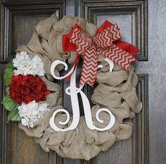 Christmas Wreath Monogram wreathChevron by theembellishedhome