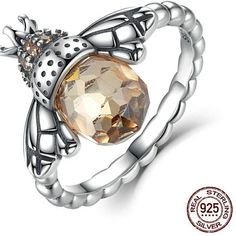 925 Sterling Silver Lucky Bee Finger Ring