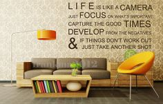 Life is Like a Camera - Wall Stickers Wall Decals Wall Quotes Vinyl Mural Poster 006