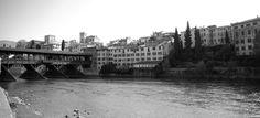 Bassano Del Grappa Italy - Old wooden bridge across the river