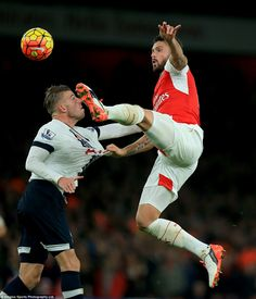 Arsenal's Olivier Giroud (right) and Tottenham Hotspur's Toby Alderweireld battle for the ball during a Premier League derby in November