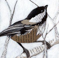 Chickadee Drawing   chickadee_collage (PS pics) Tags: bird art birds animals collage ...
