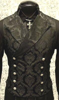 Shrine gothic vampire cavalier black vest jacket victorian tapestry steampunk SHRINE-GOTHIC-V. Steampunk Clothing, Steampunk Fashion, Gothic Clothing, Men's Clothing, Gothic Jewelry, Gothic Fashion Men, Steampunk Outfits, Vampire Fashion, Steampunk Shoes