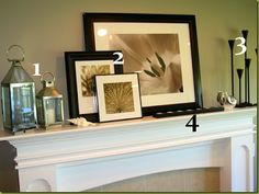 """""""Three Plus One"""" mantel scheme, select three related objects and place them on one side of your fireplace mantel. The three objects should not be of identical height, but, then again, they shouldn't vary too much in size.  *Perhaps three candles, three framed pictures or three decorative plates would be just the thing. Think in terms of layering. Experiment with bringing one forward, one visually overlapping another, or tucking one a bit behind another. Instead of having the three objects…"""
