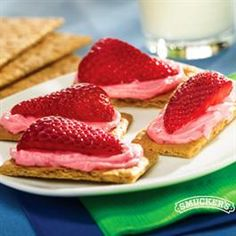 Strawberry Cheesecake Snacks from Smucker's  So simple - 1 Tbsp smucker's sugar free strawberry preserves, 1 Tbsp reduced fat cream cheese, softened, 4 graham cracker sections (1 full sheet), 1 medium strawberry, cut in quarters for garnish.  Blend the preserves and cream cheese until smooth and spread on the graham crackers.  Top with strawberry section.