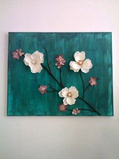 definitely going to make something like this. i might tweak it alittle though. definitely going 3d Canvas Art, Texture Painting On Canvas, Diy Canvas, Clay Wall Art, Clay Art, Paper Flowers Diy, Flower Crafts, Diy Arts And Crafts, Clay Crafts