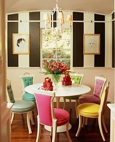 Inspired dining room, but maybe not colored leather for the chairs