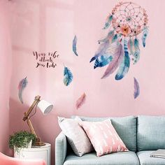 Dream Catcher Wall decals-Feathers Wall Decals – The Treasure Thrift Bird Wall Decals, Wall Stickers Murals, Wall Murals, Nursery Wall Stickers, Wall Stickers Home Decor, Playroom Wall Decor, Teen Room Decor, Bedroom Wall Designs, Wall Art Designs