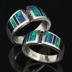 His and Her Wedding Ring Set with Lab by TheHilemanCollection, $1080.00  Out of our price range but I love the colors