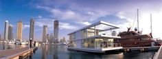An Amazing Modern Floating Home    Designed by X-Architects, this 20-by-6.7 meter floating home includes an upper deck containing a concealed kitchen, living room and an informal dining area. The lower deck houses the bedrooms, bathroom and steering cabin. It also features a terrace, with spiral staircase access, that can be used as a sun deck.