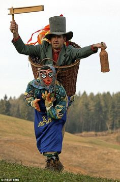 To celebrate the nearing of the end of the cold snap, Slovenians took to the hills to perfect their moves ahead of the annual carnival, Kurentovanje, where they will 'chase away' winter.