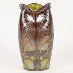 Loetz Paperweight Silver Overlay Art Glass Vase