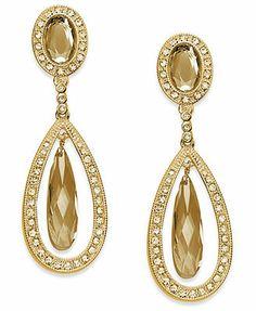 Charter Club Earrings, Gold-Tone Topaz Glass Teardrop Clip-On Earrings