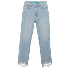 Mimi Catbird Frayed Edge Jean ($260) ❤ liked on Polyvore featuring jeans, slim tapered jeans, vintage high waisted jeans, slim leg jeans, blue jeans and slim cut jeans