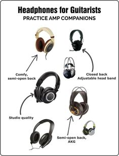 Listing of the best headphones for guitar players and practice amps. Supra Aural Headphones, Akg Headphones, Best Headphones, Guitar Classes, Guitar Lessons, Semi Open Headphones, Teach Yourself Guitar, Guitar Chords And Scales, Acoustic Guitar Amp