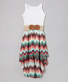 White & Pink Zigzag Hi-Low Belted Dress - Girls by Maya Fashion #zulily #zulilyfinds
