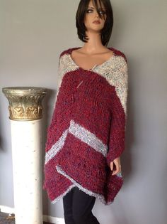 Hand Knit Long Shawl Boucle Designer Fashion Soft Luxeriius Cozy Chic  #HandKnits2LoveMyHandKnits #LongShawl