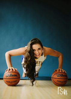 Sports pictures need a ball or two. Do this with a basketball on one side and a volleyball on the other. maybe a bat or glove and softball in the middle? Basketball Poster, Sport Basketball, Basketball Senior Pictures, Basketball Players, Sport Senior Pictures, Illini Basketball, Basketball Tickets, Basketball Drills, Basketball Signs