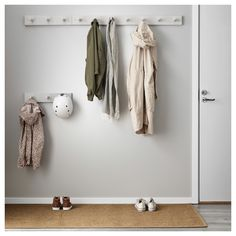 IKEA - KUBBIS, Rack with 7 hooks, gray, Different wall materials require different types of fasteners. Use fasteners suitable for the walls in your home. Tested and approved for bathroom use. Coat Hooks Hallway, Diy Coat Hooks, Entryway Hooks, Wall Hooks, Wall Shelves, Ikea Entryway, Coat Storage, Small Storage, Hanging Storage