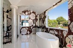 This is tile! Not wallpaper. Well… it's memorable. N Alta Dr, Beverly Hills, CA