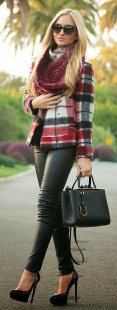 Don't care for the plaid but I like the cuts and textures of the ensemble.