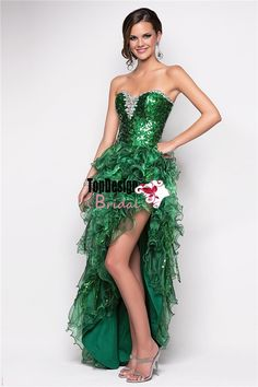 Emerald green high-low organza prom dress shinning sequined bodice party gown Style 9540