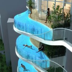 The Aquaria Grande--a residential skyscraper in Mumbai, India with glass swimming pools on each balcony right outside your apartment. Now that's what I call an apartment!