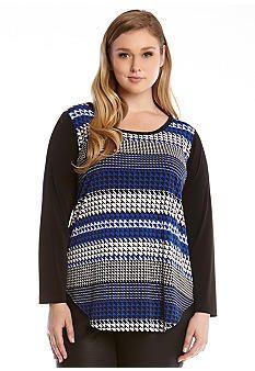 Karen Kane Plus Size Black and Blue Moon Lunar Houndstooth Stripe Top #Karen_Kane #Plus #Size #Black #Blue #Moon #Lunar #Houndstooth #Stripe #Top   #Plus_Size #Fall #Fashion #Belk
