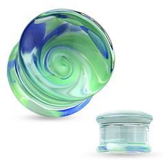 Pyrex Glass Double Flare Plugs with Blue and Green Swirl