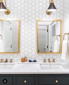 Check out how a tile statement wall in your bathroom using cement tile, natural stone, or ceramic tile creates a fresh, unique design.