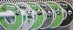 6 Custom Baby Closet Dividers Organizers in Black White Green Pandas Panda Bear Bamboo Nursery Bedding Baby Boy Girl Shower New Baby Gift