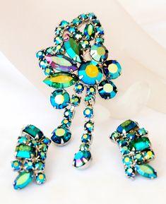 Juliana Style Aqua AB Rhinestone Dangle Brooch Earring Set