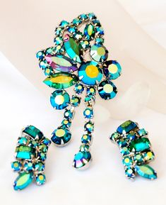 Juliana Style Aqua AB Rhinestone Dangle Brooch Earring Set
