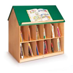 BOOK HOUSE WITH GREEN ROOF-This Book Unit is accessible from two sides with 12 book storage openings on either side. The green roof is cleated so titles are easy to browse. This unit is perfect for a book island in a library. Kids Playroom Furniture, School Furniture, Play Kitchen Sets, Bookshelves Kids, Bookcases, Kid Desk, Book Storage, Cubbies, Shelving
